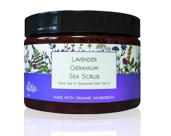 Lavender Geranium Sea Scrub, Dead Sea & Himalayan Pink Salts, Sea Salt Body Scrub, Aromatherapy Exfoliating Bath Salts with Essential Oils