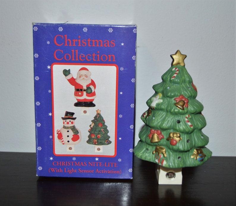 Green Ceramic Christmas Tree Night Light With Box Christmas Tree Nightlight Nite Lite Holiday Tree Light Ceramic Light Gift