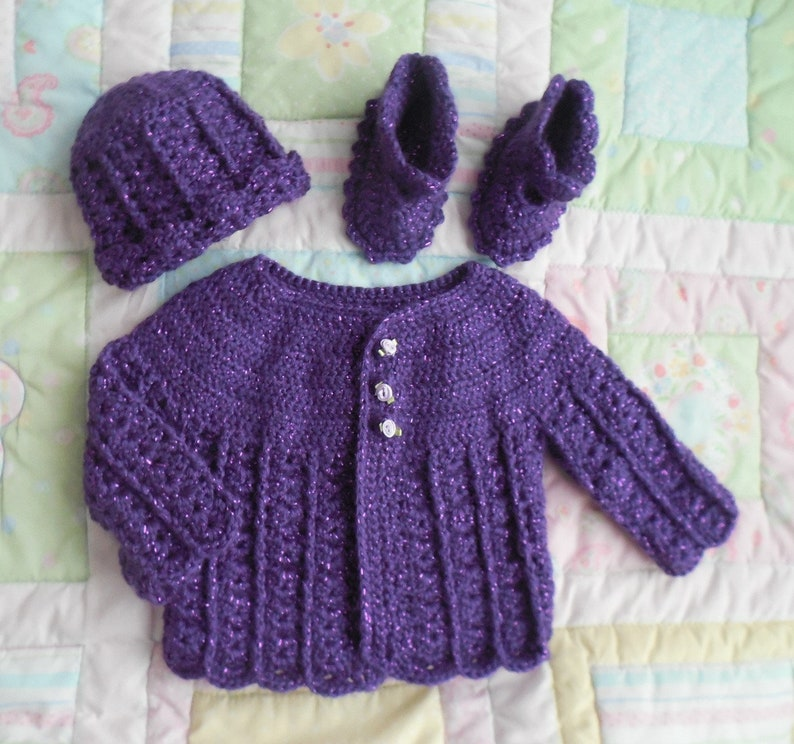 f8436faced17 Purple baby sweater set baby sweater crochet baby shower
