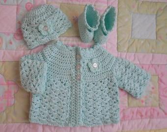 green baby sweater, baby girl sweater set, crochet baby sweater, baby sweater crochet, infant sweater, newborn baby cardigan, 0 to 3 mo mint