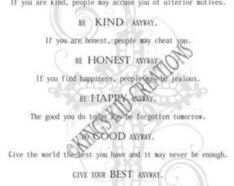 picture about Mother Teresa Do It Anyway Free Printable known as Mom teresa poem Etsy