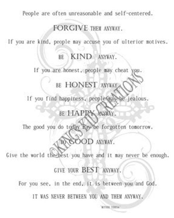 Mother Teresa Downloadable Poem 16x20