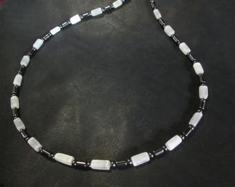 Selenite and Hematite Necklace ~ customizable length up to 20 inch ~ Reiki Charged
