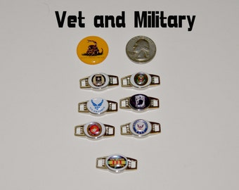 Veteran and Military Shoelace and Paracord Charms for bracelets. Now in either the large size 18x25mm or 12 x16mm ovals with epoxy domes.