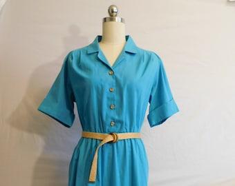 Vibrant Turquoise 1980s Dress