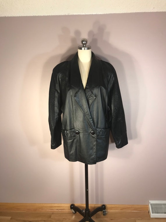 Unique Leather Black 1980s Jacket Size Small/Mediu