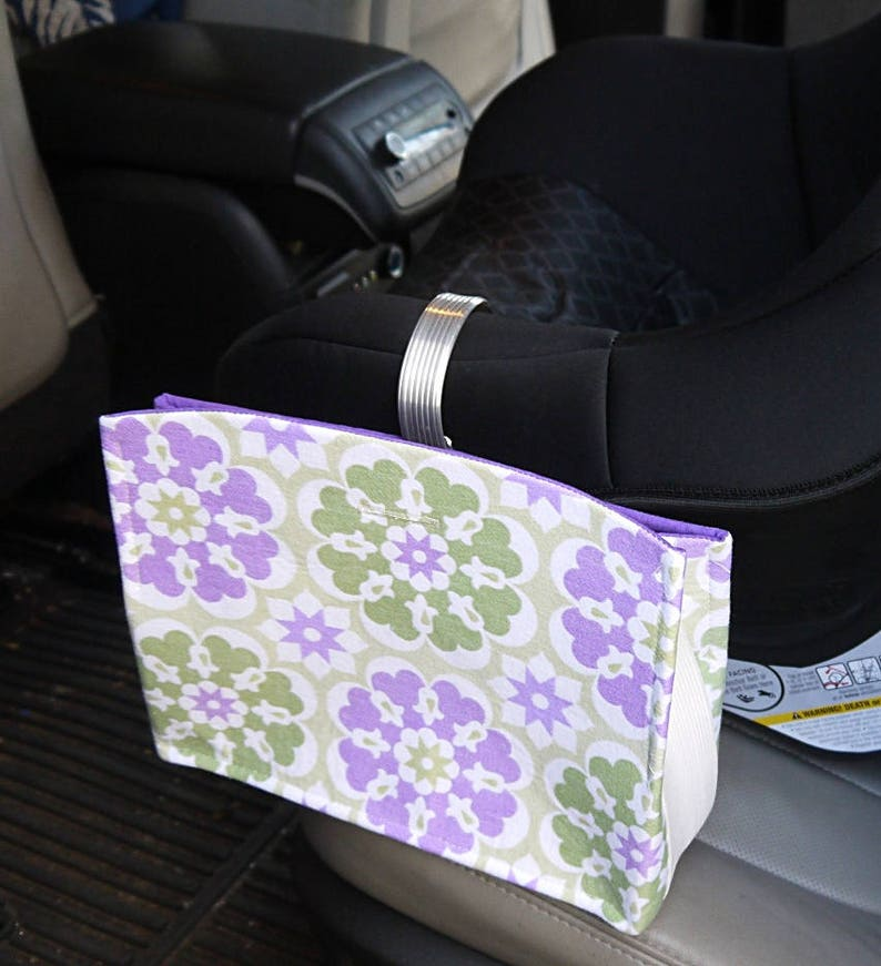 Purple Car Caddy with Hook Handle & Strap - Toy Storage Car Organizer - Car  Accessories -Travel Tote for Kids Gift for Girls -Car Trash Bag