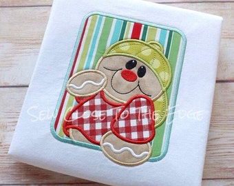 Framed Gingerbread Boy Bball Cap Applique - Instant  Download - 3 Sizes - for Embroidery Machines