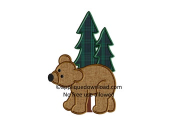 Black Bear N Trees Embroidery Applique - Instant  Download - for Embroidery Machines