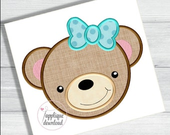 Girl Bear Applique - Bear Face - Teddy Bear with a Bow - Cute - Animal - Farm - Zoo - Applique - Design