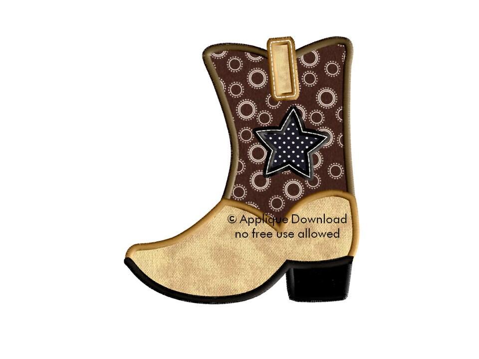 Cowboy boot 3 sizes western applique design instant etsy