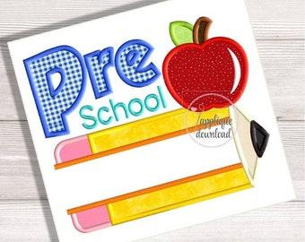 Preschool - PreK - Back to School Split Applique - Apple and Pencil Split Embroidery Design