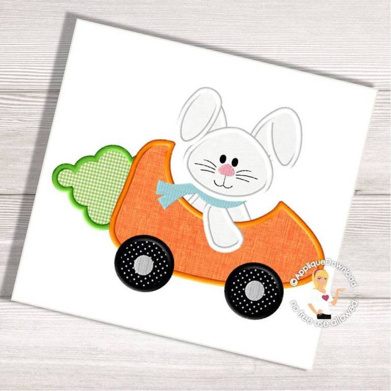 Easter Bunny Reese S Egg Cars: Easter Bunny In A Carrot Car Applique Bunny In A Race Car