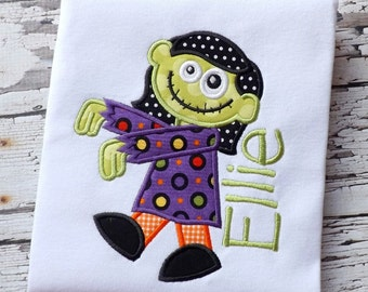 Walking ZOMBIE GIRL Halloween Applique Design - Instant Download - for Embroidery Machines