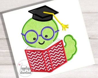 Bookworm Reading a Book Applique Back To School Embroidery Design Book Worm