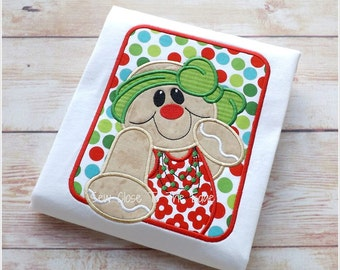 Framed Gingerbread Girl Applique - Instant  Download - 3 Sizes - for Embroidery Machines