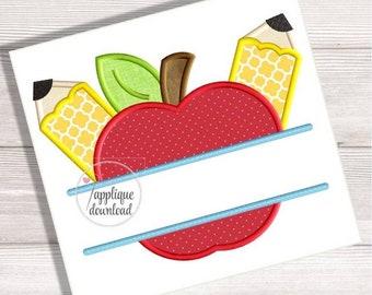 Split Back to School Applique Apple and Pencils Split Embroidery Design