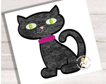 Black Cat - Halloween Applique Design - Instant Download - for Embroidery Machines