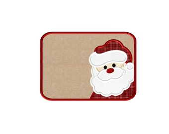 Santa ITH Mug Rug - Applique Embroidery Design - 3 sizes to fit 4X4, 5X7 & 6X10 hoops
