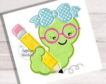 Girl Bookworm Writing Pencil Applique Back To School Embroidery Design Book Worm
