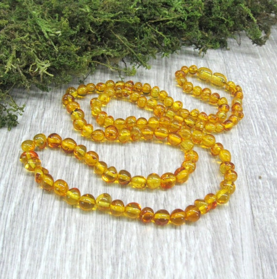 Natural Baltic Amber Adult Necklace with Polished Lemon Color Beads