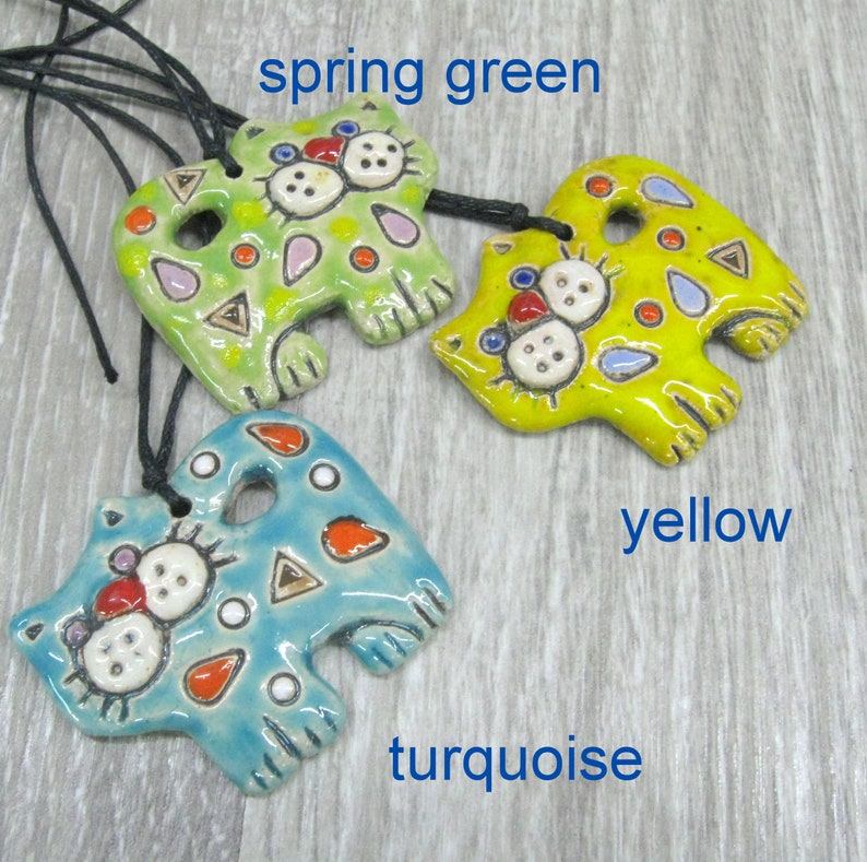Spring kitten cat pendant Ceramic kitty necklaces cat lover gift cat lady jewelry green cat pendant ceramic animal necklace clay  jewelry