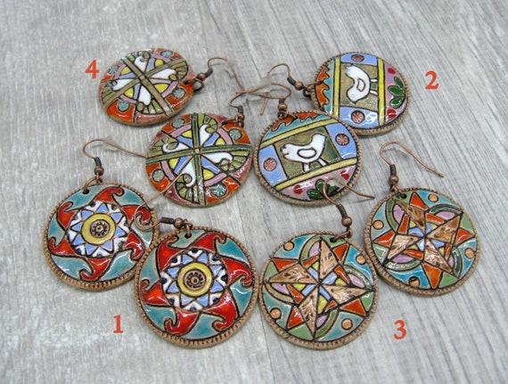 Ukrainian ceramic jewelry handmade gift clay earrings hand painted circle earrings pottery jewelry round dangle earrings  boho disc earrings