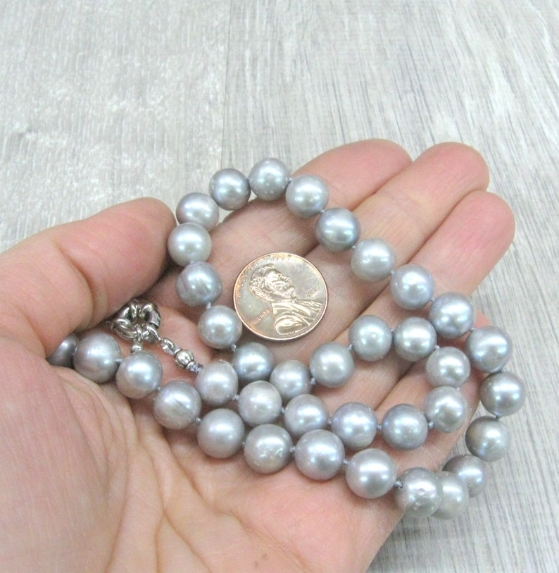Light gray freshwater pearl necklaces 16 17 17.5 18.5 inch knotted strands 9-10 mm pearls silver gray pearl jewelry