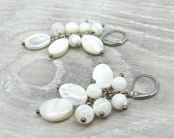 White Shell Earrings Cluster earrings mother of pearl earrings shell jewelry teachers gift for her beach wedding jewelry gift dangle earring