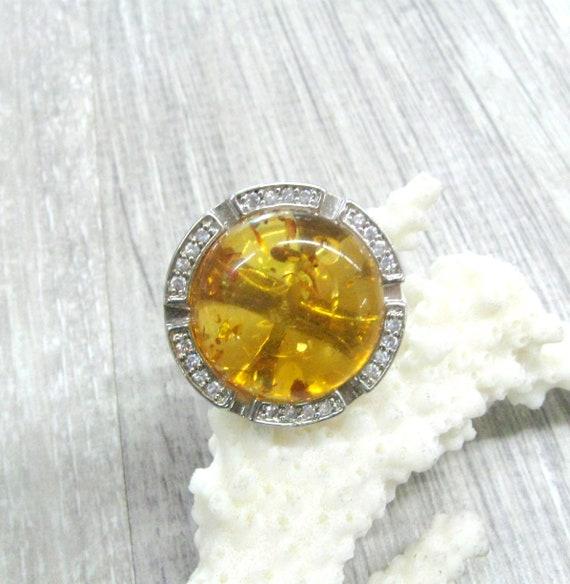 Baltic Amber Statement ring round cocktail ring ye