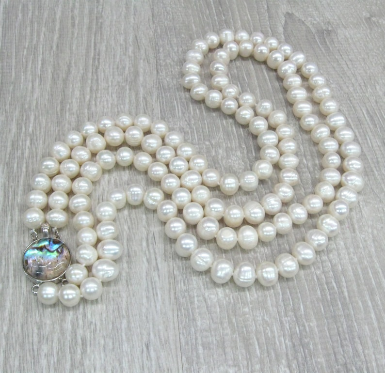 Double strand Pearl Necklace with Rainbow Abalone closure Great Gatsby style natural 8 10 mm pearl jewelry 24 inches statement necklace