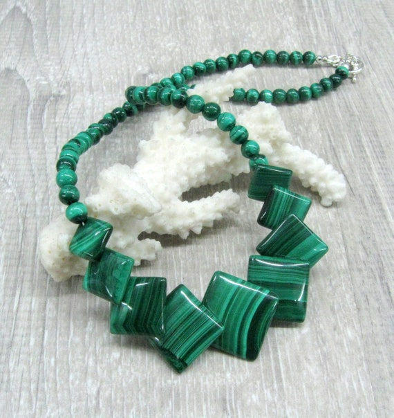 Unique Natural Green Jade Gemstone Square beads Real Necklace Handmade Beaded DIY New Fashion Jewelry For Women