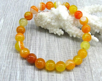 Yellow agate bracelets simple bracelet for her gemstone bracelets yellow orange action bracelets agate jewelry focus bracelets energy gift