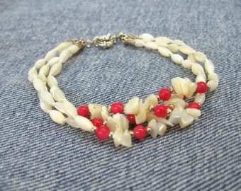 Women gift wife White pink jewelry Shell Mother of Pearl Bracelet multi strand bracelet ruby red agate shell bracelet nautical beach jewelry