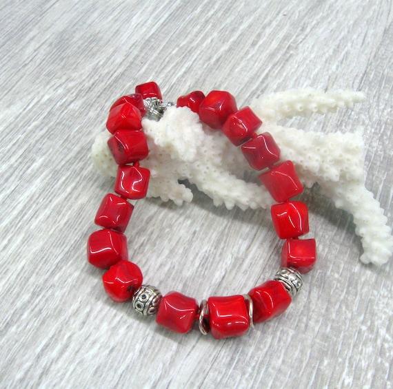 Keramik Perlen mit roten Blumen Muster 8 mm 10 X  dutch beads