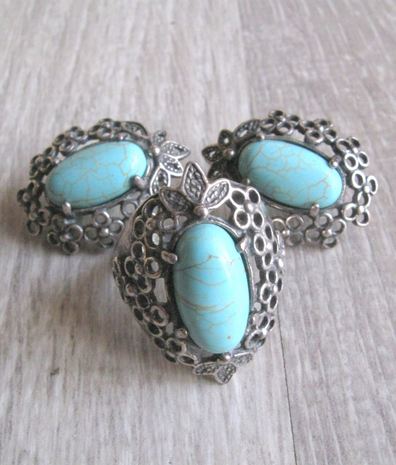 Teal Turquoise Howlite Vintage jewelry set size 10.5 ring for image 0