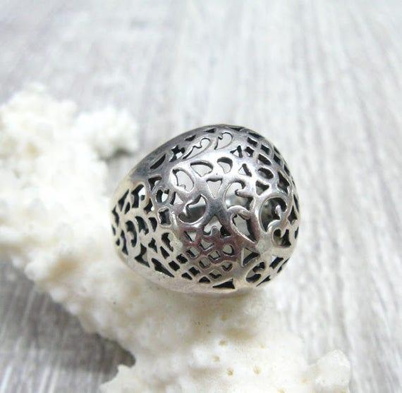 Russische Vintage Ring filigranen Kuppel Ringe Silber Ringe für Frauen russischen Volkskunst Schmuck zarte durchbrochene Kuppel Ring Silber cocktail
