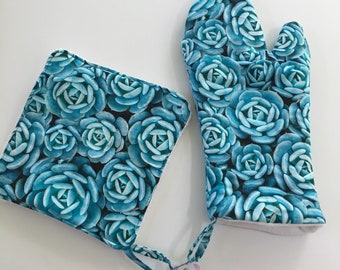 Turquoise Succulents Oven Mitt and Potholder Set