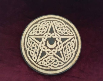 Celtic Knot Pentagram Pentacle Crescent Horned Moon Altar Tile Disc Plate Pyrography Pagan Wicca Altar Wiccan Witch Altar Witchcraft Shrine