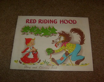 vintage RED RIDING HOOD story and coloring book un used sc