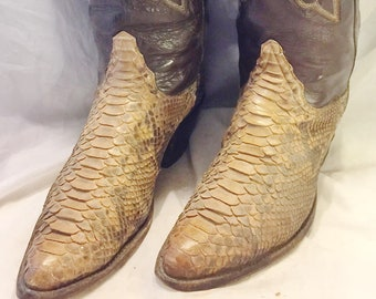 "Tony Lama Snakeskin Cowboy Western Boots; Men's 10-1/2 B; 18"" Hand-Tooled Hi-Rise; Great Vintage Look!"