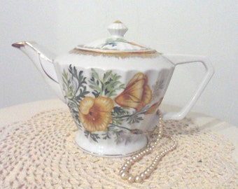 Vintage Napco Hand Painted Porcelain Teapot with Poppies