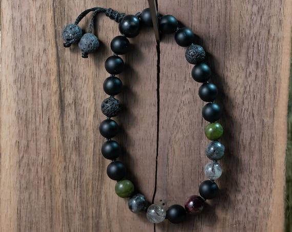 Hand made Mala Bracelet with Jade And Onyx