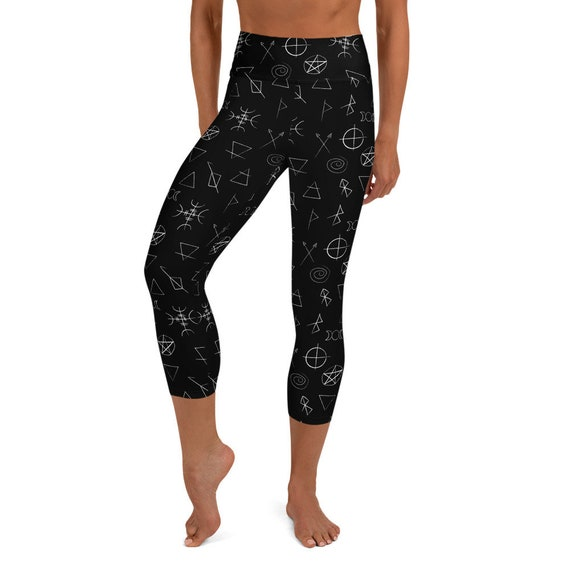 Black Yoga Legging Protection Symbols