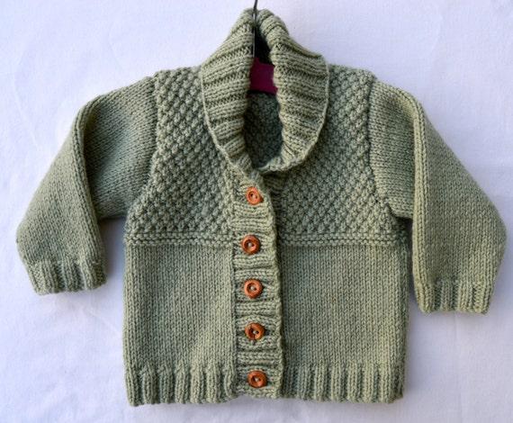 Baby Boy Sweater Cardigan In Pistachio Green Shawl Collar Etsy