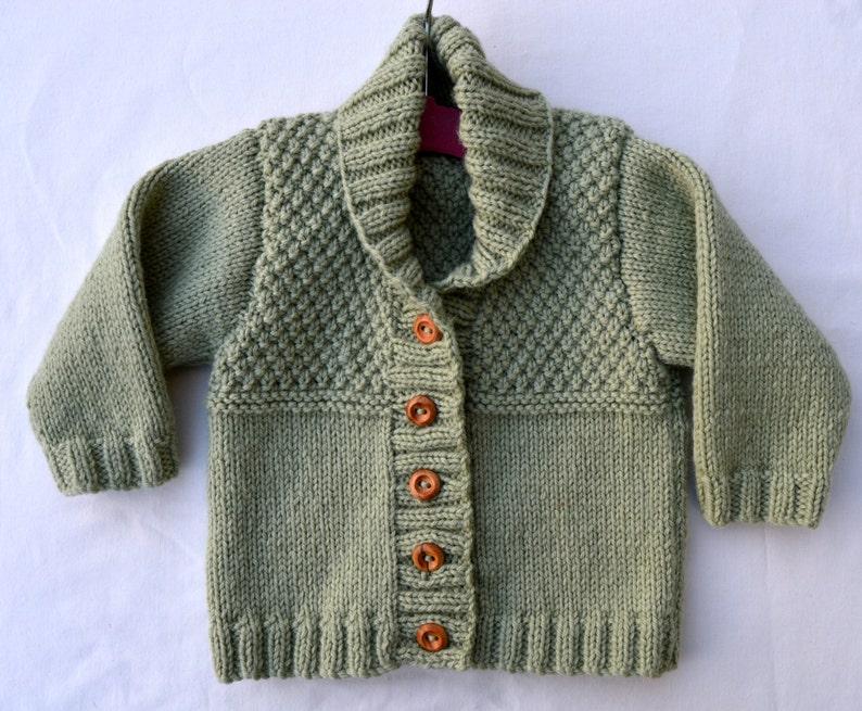 2c19f90ba46b Baby Boy Sweater Cardigan Pistachio Green Shawl Collar Hand