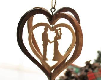 Our First Christmas Ornament - Wood Ornament - 1st Christmas Ornament - Mr and Mrs Ornament - Christmas Wedding - Wooden Ornments