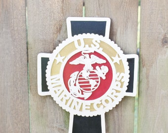 United States Marine Corps Wood Cross - USMC Wood Wall Plaque - Marine Corps Wall Hanging - Military Gift - USMC Fathers Day Gift