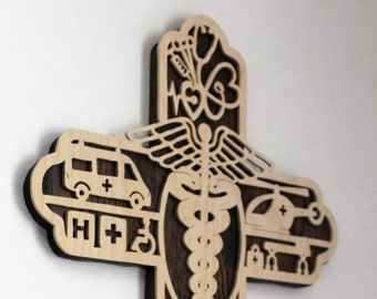 First Responder Gift Handmade From Wood - Medical Gift - Gift For EMT - Gift For Medical Doctor - Wood Cross For First Responder