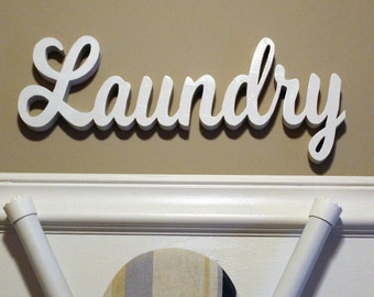 Laundry Sign - Wood Word Art - Laundry Wood Sign - Wood Cutouts - Laundry Room Sign - Word Art - Wood Laundry Sign Cut Out - Word Sign